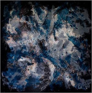 """""""Bruit"""" acrylique sur toile, 60X60, 410 €"""