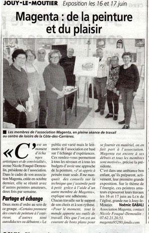 la gazette du 25 avril 2012 parle de Magenta