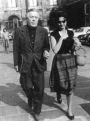 Joyce Mansour (avec André Breton) circa 1960 dans l'île de la Cité.