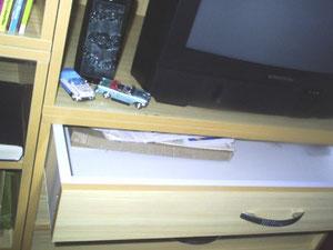 Detalle de un cajón, de dicho mueble