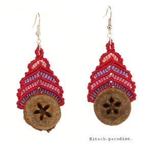 kp kitsch-paradise artisans créateurs boucle d'oreille macramé création tissage micromacramé couleur nature art graine eucalyptus cote bretagne