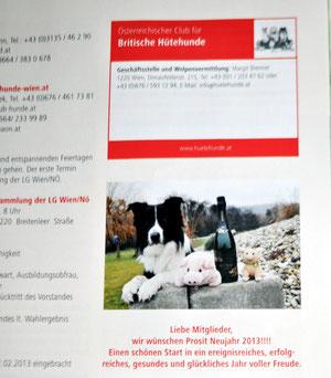 """Ich lache aus der ersten UH Zeitung 2013 als """"Glücksschweinderl"""" von Frau Brenner. (das Bild habe ich ihr 2011 geschickt mit Neujahrswünschen)"""