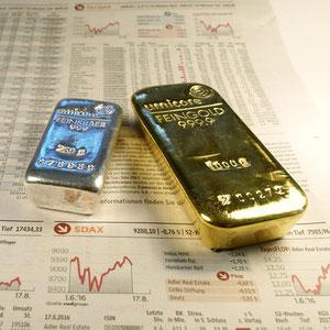 Goldbarren, Silberbarren, Goldmünzen, Silbermünzen kaufen und verkaufen
