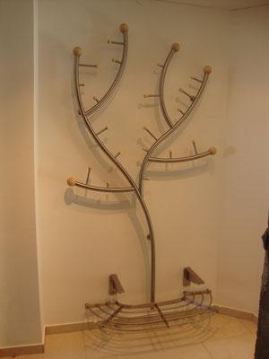 Edelstahl Garderobenbaum mit Schuhablage
