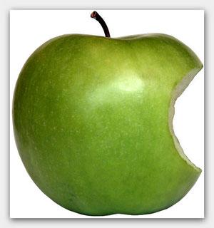 apple apfel angebissen