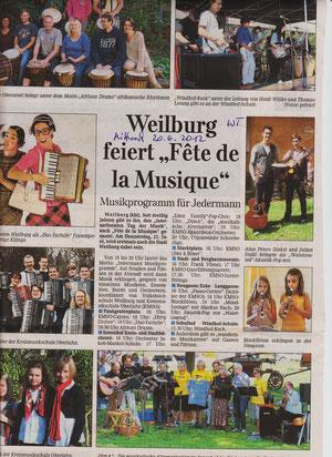 Weilburger Tageblatt Ankündigung 20.6.2012