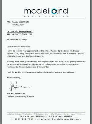 Letter of Appointment (LoA) to the advisor, from MMLtd,(UK).