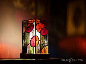 lampe coquelicots vitrail
