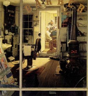 Norman Rockwell Shuffleton's Barbershop 1950