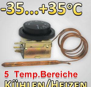 Einphasiger Thermostat, Universal, ausgestattet mit Schaltkontakt Typ SPDT. Die Fernleitungslänge beträgt 1 Meter.