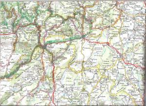 Carte de notre région ( copyright Michelin )