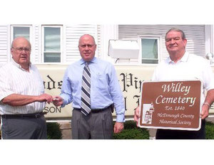 Donation from Dodsworth-Wallen-Piper Funeral Home for the cemetery sign marking project.  Pictured (l. to R.) are President Roger Frowein, Patrick Burke, and Larry Jameson.