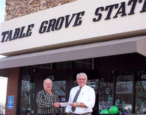Donation that the Historical Society received from the Table Grove State Bank.  The picture is of President Roger Frowein receiving the check from Jack Baily, President of the Bank.