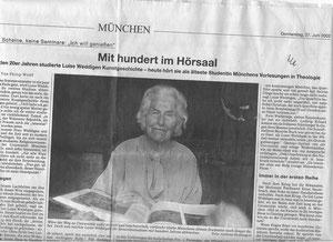 Luise Weddigen als älteste Studentin der Theologie