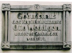 Gedenktafel am Weddigenhaus in Herford