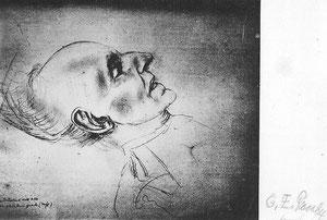Charlotte Pauly, Hauptmann auf dem Totenbett 1946 (signierte Fotographie 194/3 nach Radierung)