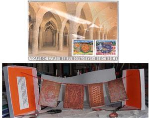 les tapis de la Mosquée Karim d'Ispahan, sèchent  au soleil de l'Iran!...