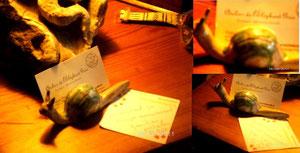 toujours le même, escargot en céramique! Conçu et réalisé par la Reine des Elephants!...