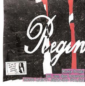 mot blanc/noir découpé sur papier déchiré noir (peinture acrylique) et affiche rouge et noire avec des lettres blanches