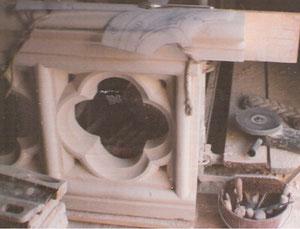 Quadrilobe, élément d'une balustrade sur le chemin de ronde au dessus de la Rose sur la façade Ouest (rue de réaumur)