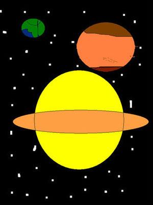 Erde, Merkur und Saturn von Franzi