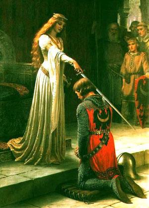 La reine Guenièvre anoblissant un jeune chevalier.