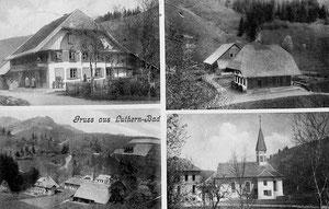 Luthern Bad, Ansichtskarte  Gruss aus Luthern Bad. 4 Sujets: oben links Handlung Krutzi, oben rechts altes Schulhaus Luthern Bad, Gasthaus Hirschen im Bau, Poststempel Luthern 9.Juli 1904  (LB 6)