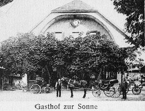 Luthern Dorf, Gasthof zur Sonne, Postkartenausschnitt mit Pferdegespann, Poststempel 1914  (So 1)