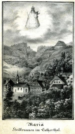 Luthern Bad, oben rechts Badegg, altes Litho 73mm x 140 mm, erschienen 1833 bei Zgraggen Altdorf  (LB 2)