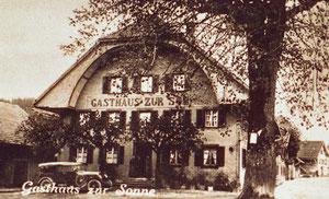 Luthern Dorf, Gasthaus zur Sonne, Postkartenausschnit mit Stempel 1936  (So 3)