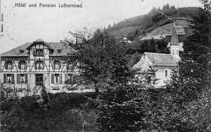 LuthernBad, Gasthaus Hirschen neu erbaut 1904, Wallfahrts-Kapelle, Ansichtskarte mit Poststempel 5. August 1906, Fotograf L. Ascher Zürich (Hi 1)