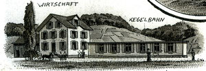 Hofstatt, gezeichnete Ansichtskarte, Ausschnitt Schachen Pinte, Poststempel 4. Juli 1902  (SP 1)