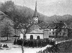 Luthern Bad,  alte Wallfahrtskapelle mit Pilgern, Ausschnitt aus Ansichtskarte von Pfarrer Augner mit Stempel 31.Dezember 1906  (LB 7)