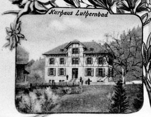 Luthern Bad, Kurhaus Luthern Bad neu erbaut 1904, heute Hirschen, Detail  Ansichtskarte Burri, Poststempel Luthern 26. Juni 1906  (Hi 2)