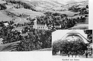 Luthern Dorf, Gasthaus Sonne mit Pferdefuhrwerken, Postkarte von 1914  (LD 10)