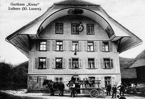 Luthern Dorf, Gasthaus Krone um 1912  (KR 3)