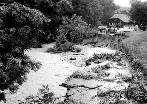 Luthern, Käserei Grünenboden, Überschwemmung 24. Juli 1972, Strassenschaden, Foto Eugen Birrer Missionar  (UW 1)