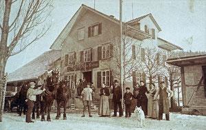 Hofstatt, Restaurant Schachen Pinte, früher Wirtschaft Neuhaus, Ansichtskarte mit Stempel Hofstatt, 4, März 1907  (SP 2)