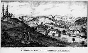 Luthern Bad, mit Waldbruderklause oben links, Lithografie Hindermann, Zeichnung Müller Ruswil, 1845-46,                        Bildgrösse 33,8 cm x 18,4 cm (LB 1)