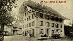 Luthern Dorf, Gasthaus Krone, Ausschnitt aus Ansichtskarte mit Poststempel 4. Juni 1905  (KR 2)