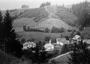 Luthern Bad, Ansicht von Niespelstrasse, ohne Waldbruderklause, vor Bau  Haus Alpenblick, um 1920, Foto von Friebel Sursee, ab Glasnegativ  (LB 12)