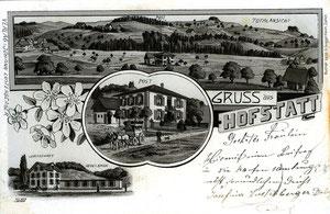 Hofstatt, Ansichtskarte schwarzweiss gezeichnet, Poststempel 4. Juli 1902  (Ho 1)