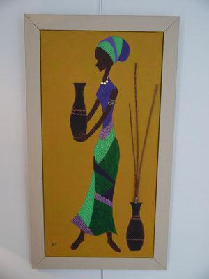 L'AFRICAINE & SES POTERIES - Réf. N° 4  -Réalisation: Home Déco - R.T - 80x40 - PRIX: 85 euros
