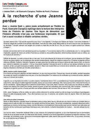 """Article paru dans """"Les Trois Coups"""""""""""