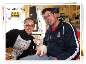 Foto cachorro chihuahua macho de color blanco y crema y pelo largo de los criadores de perros de raza chihuahua De Alba Dog, venta de cachorros chihuahua de pelo corto y largo con pedigree y afijo en Valencia, Comunidad Valenciana, España