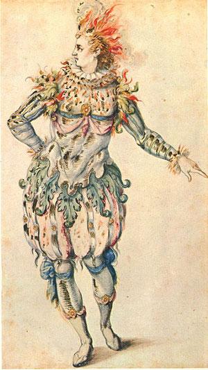 Inigo Jones, bozzetto per il costume di una stella, 1630-1640, disegno a china acquerellato