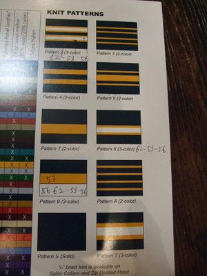 襟、袖のリブパターン