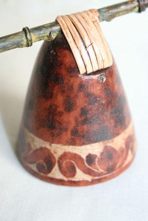Céramique et Rafia - Manche en métal imitation bambou