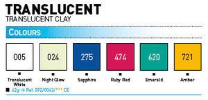 Gamma colori Cernit Translucent da:Panetti da 62 gr: euro 1,70 e da 250 gr
