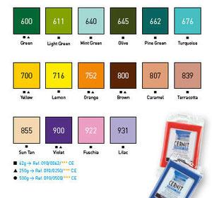 Gamma colori Cernit Number One da:Gamma colori Cernit Number One da: Gamma colori Cernit Number One da: Panetti da 62 gr: euro1,70 e da 250 gr